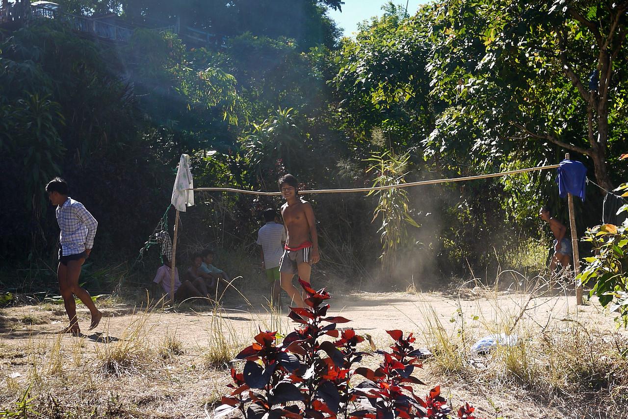 Men playing Chinlon