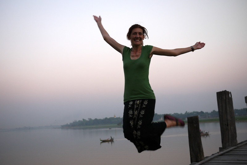 A not so successful jumping shot from U Bein Bridge near Mandalay.