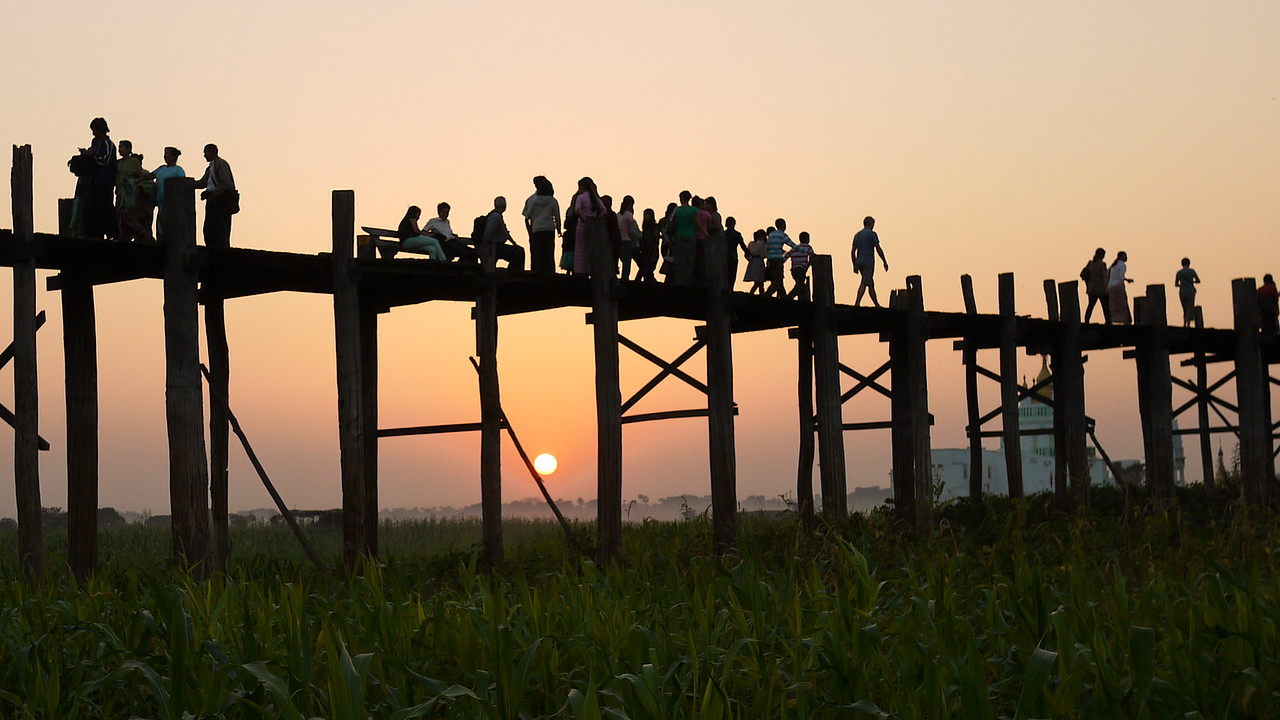 U Bein Bridge, in all of its gorgeous teak splendor at sunset, near Mandalay.