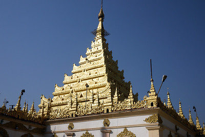 The top of the Mahamuni Pagoda in Mandalay, Myanmar.