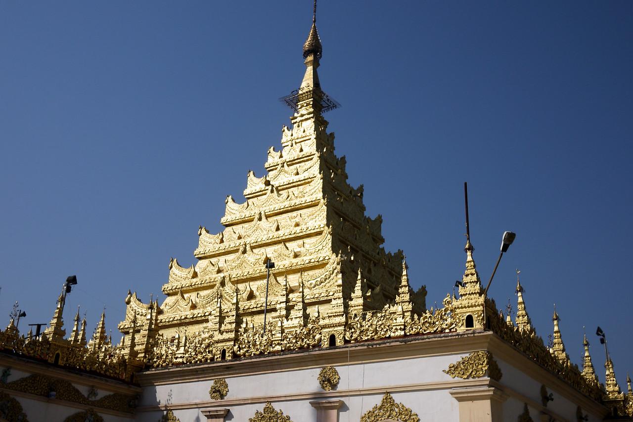 The top of the Mahamuni Pagoda in Mandalay, Myanmar.