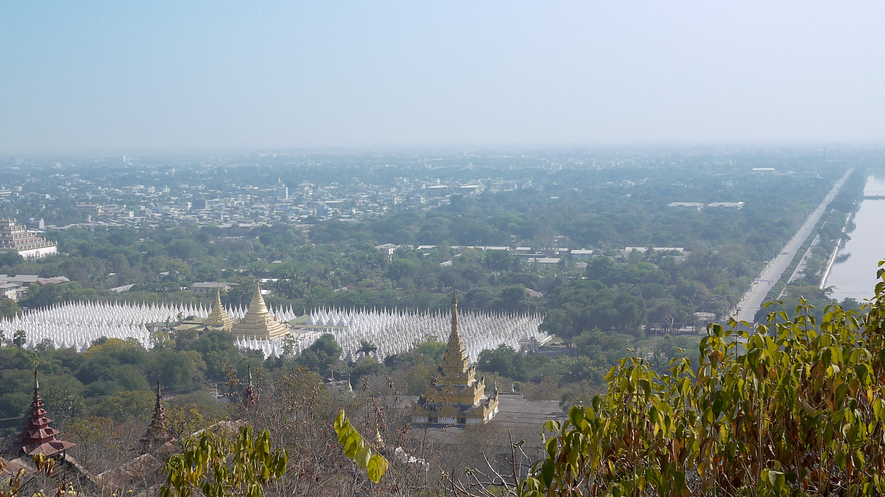 The view of pagodas and temples from Mandalay Hill, Burma.