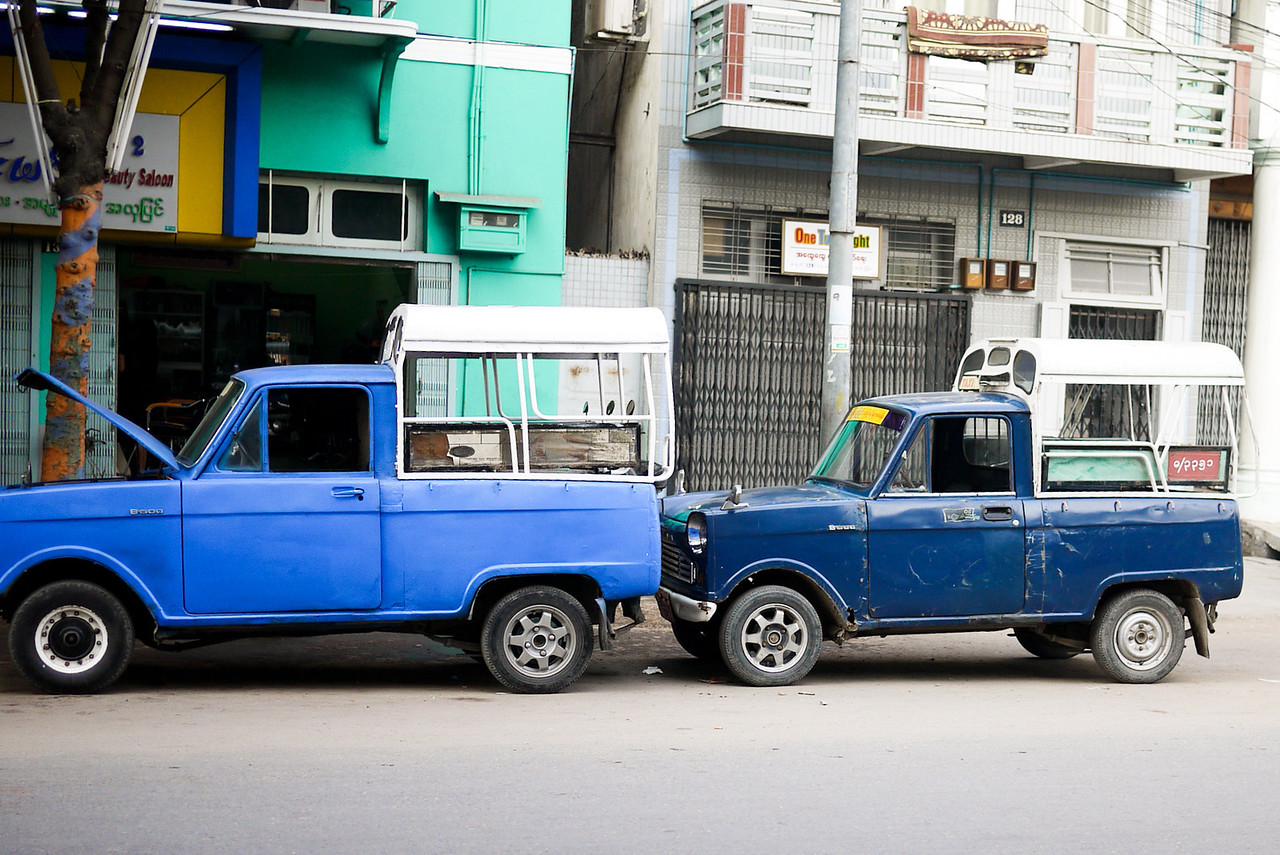 Small blue taxis were a cheap and easy way to get through the city.