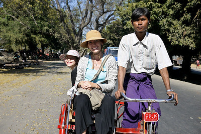 Ana and I enjoy a trishaw ride to see the Gold Leaf shops in Mandalay.