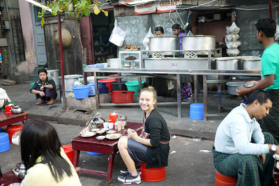 Eating street food in Southeast Asia