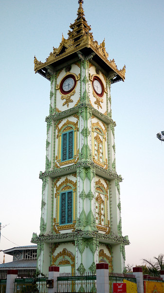 Clock tower inside of Mahamuni Paya in downtown Mandalay, Burma.