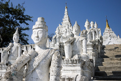 A row of faces line the steps of the temple on Mingun, near Mandalay.