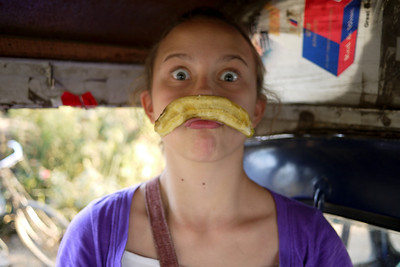 Ana goofs off on our day trip around Mandalay.