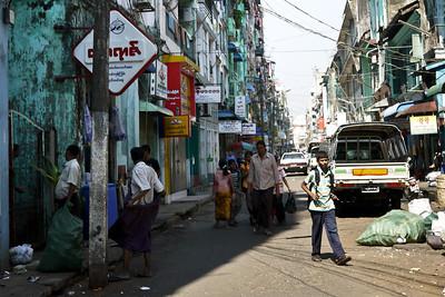 A small side street in downtown, central Yangon, Burma (Myanmar)
