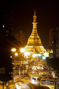 The Sule Paya roundabout at night in Yangon, Burma (Myanmar)