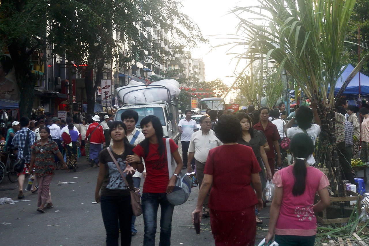 The busy streets of Chinatown in Yangon, Burma (Myanmar)