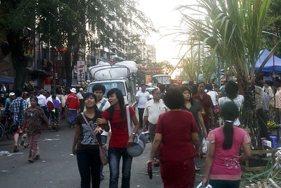 The busy streets of Chinatown in Yangon, Burma (Myanmar)