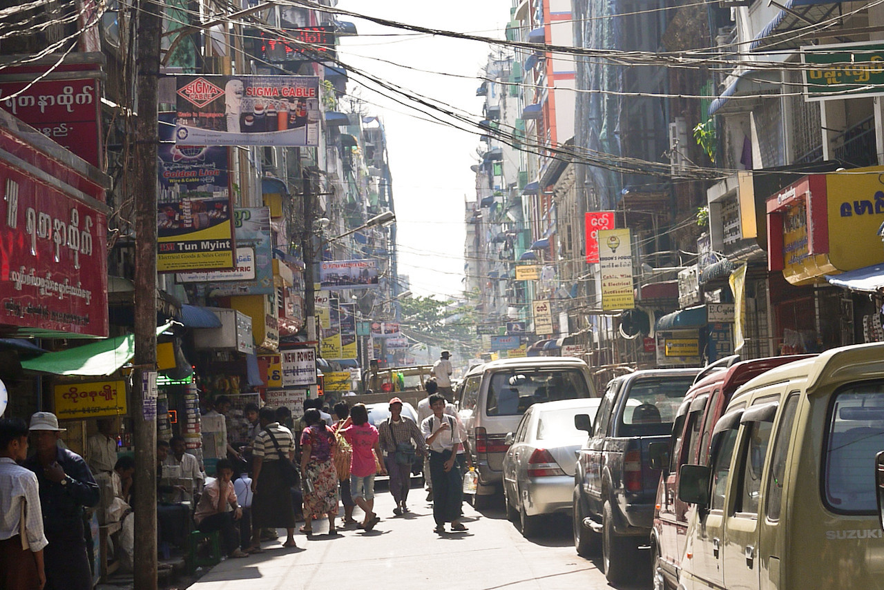 The streets of Yangon, Myanmar