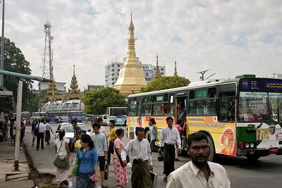 Daytime at Sule Paya near the bus stop in Yangon, Burma (Myanmar)