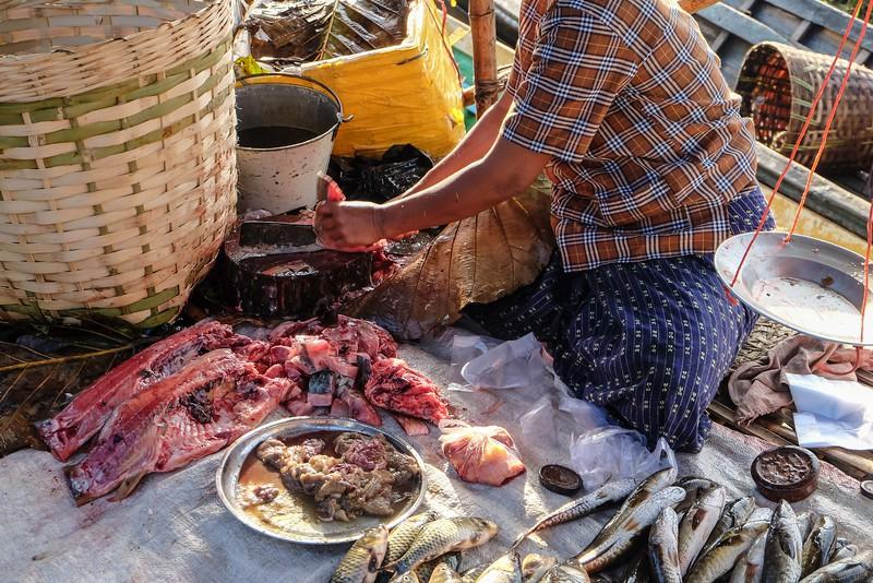 Fishmonger at Ywa-ma market