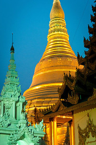 This main stupa of Shwedegon Pagoda is 98 meters tall, 2,500 years old and covered with real gold - not gold foil; Yangon