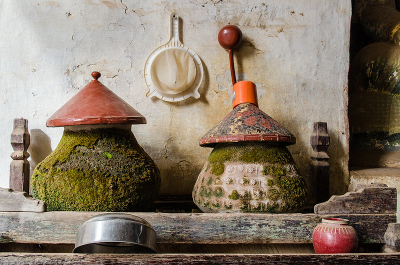 These old mossy water jugs at Ananda Temple are for water offerings.