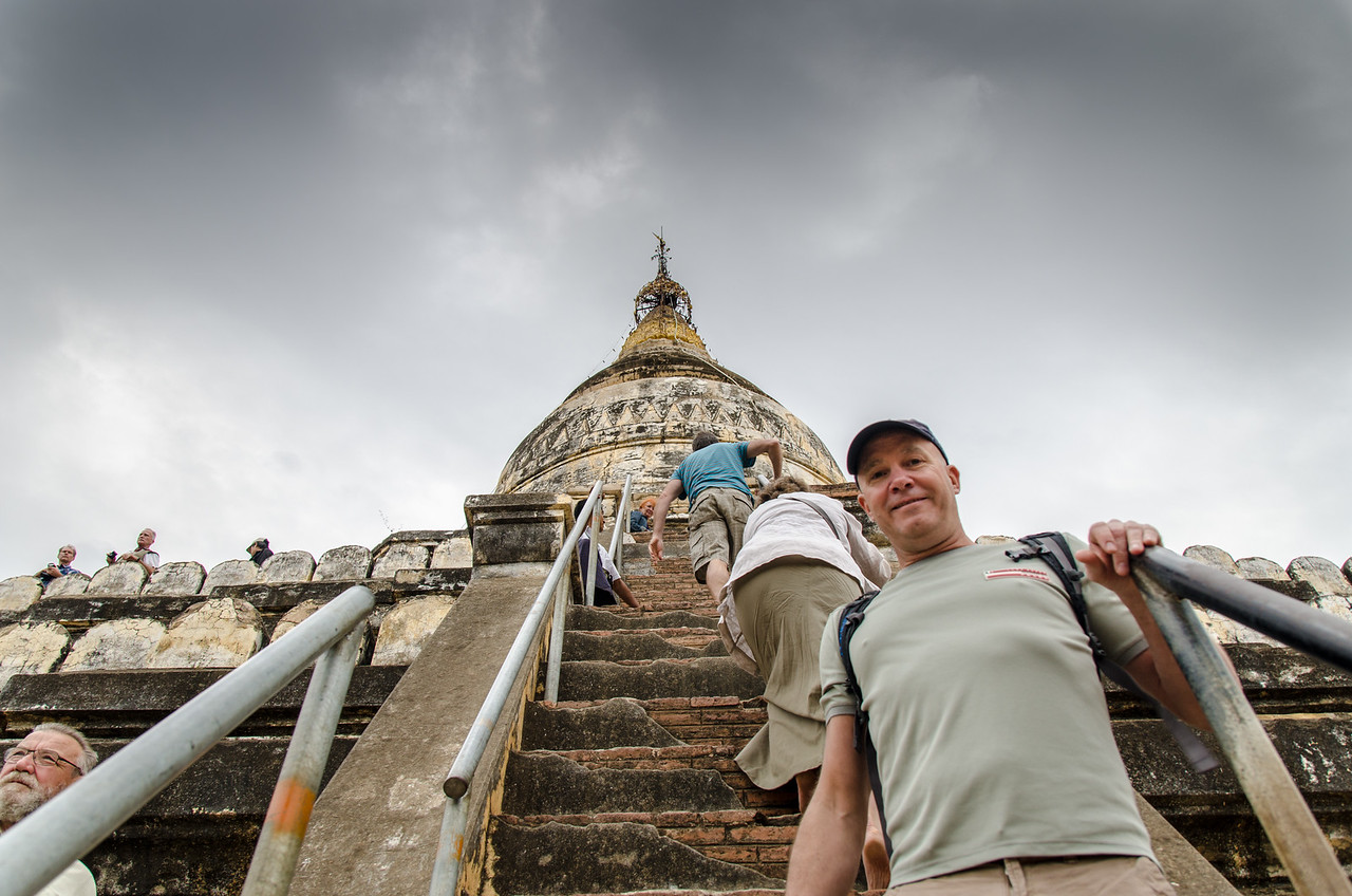 Tim climbing Shwesandaw Pagoda.  The pagoda was built by King Anawrahta in 1057.