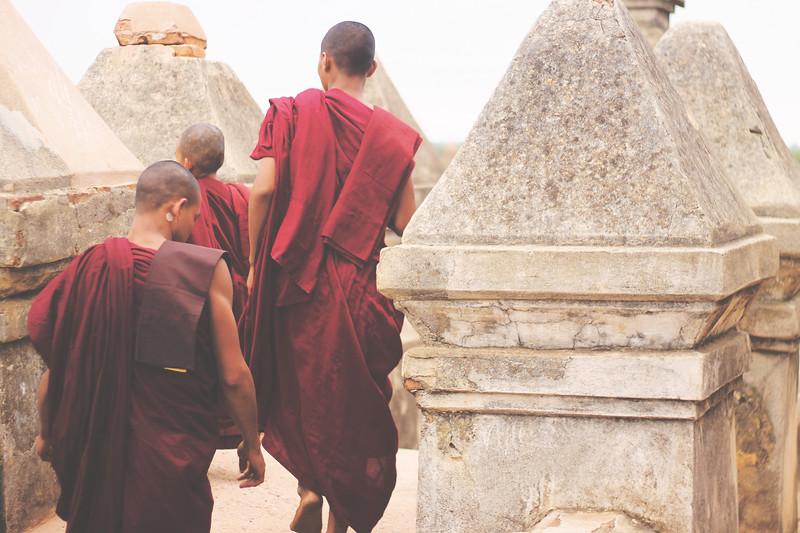 Burmese monks wear red. April 2015