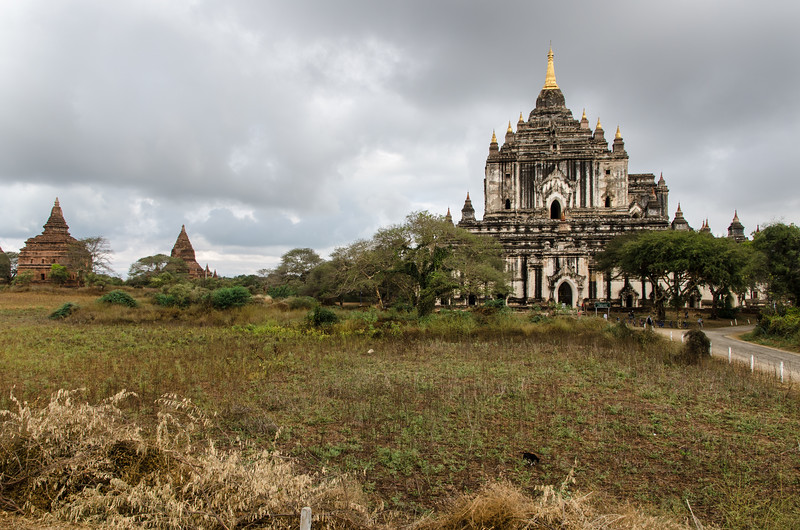 Thatbyinnyu Temple, built in the mid-12th century during the reign of King Alaungsithu.  Thatbyinnyu Temple is 61 metres (201 ft) tall, the tallest in Bagan.