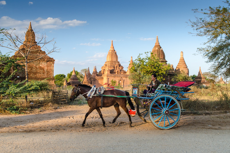 A horsecart passing temples near sunset in Bagan.
