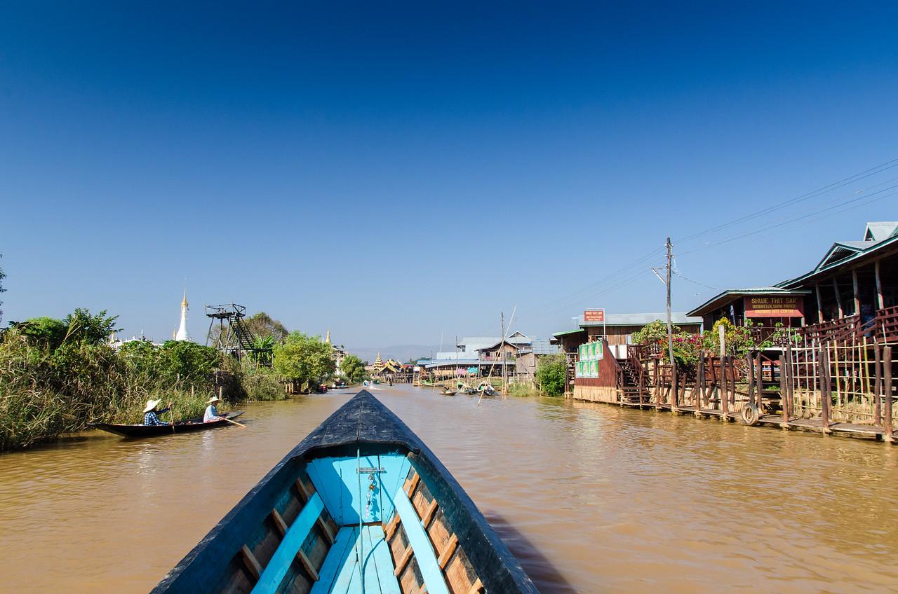 Arriving in Ywama Village, Inle Lake, Myanmar.