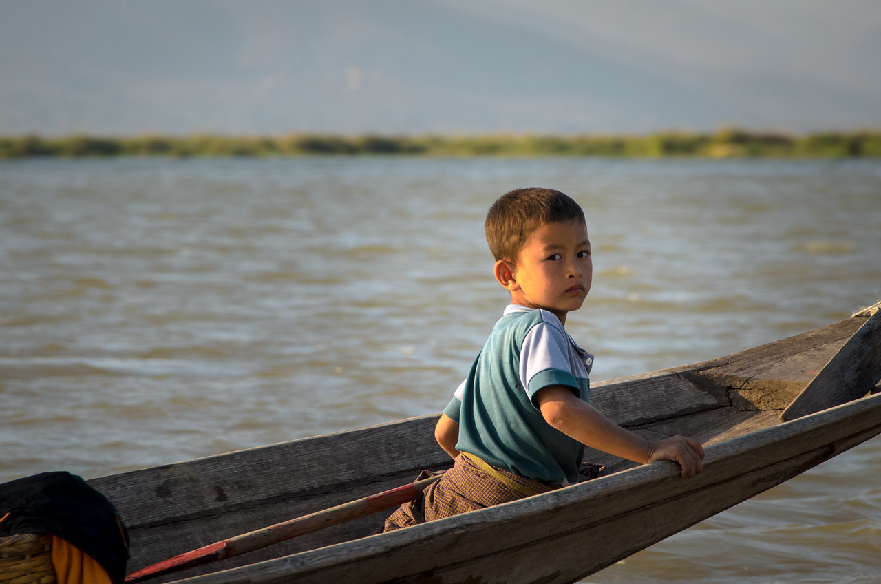 Boy in afternoon light, Inle Lake.