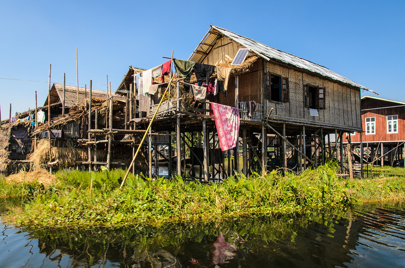 Typical Inle Lake stilt houses.