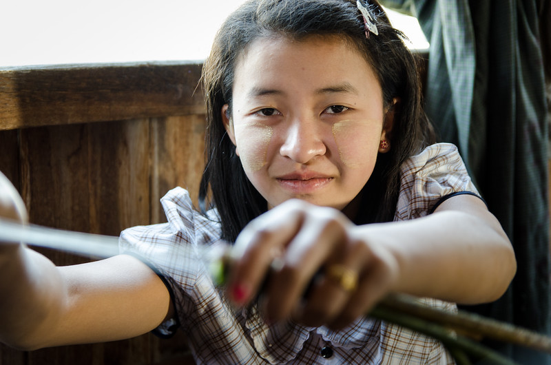 "Here a girl shows how the lotus stem is broken open to expose the ""silk."""