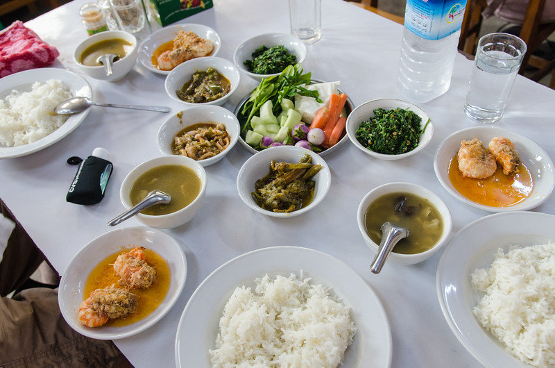 We went local for lunch.  This is a typical Myanmar spread.