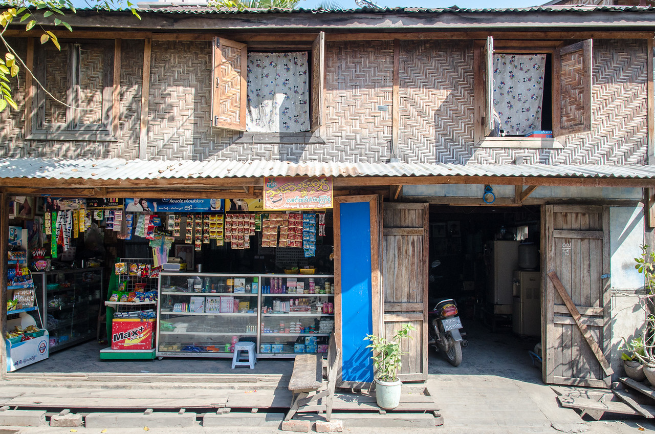 House with shop on typical Mandalay street.