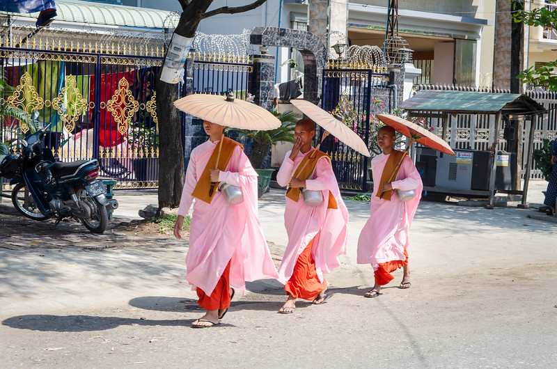 Buddhist nuns are a common sight in Mandalay.