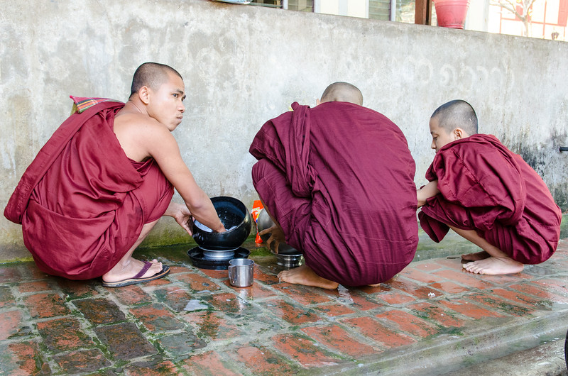 The monks clean their own bowls.