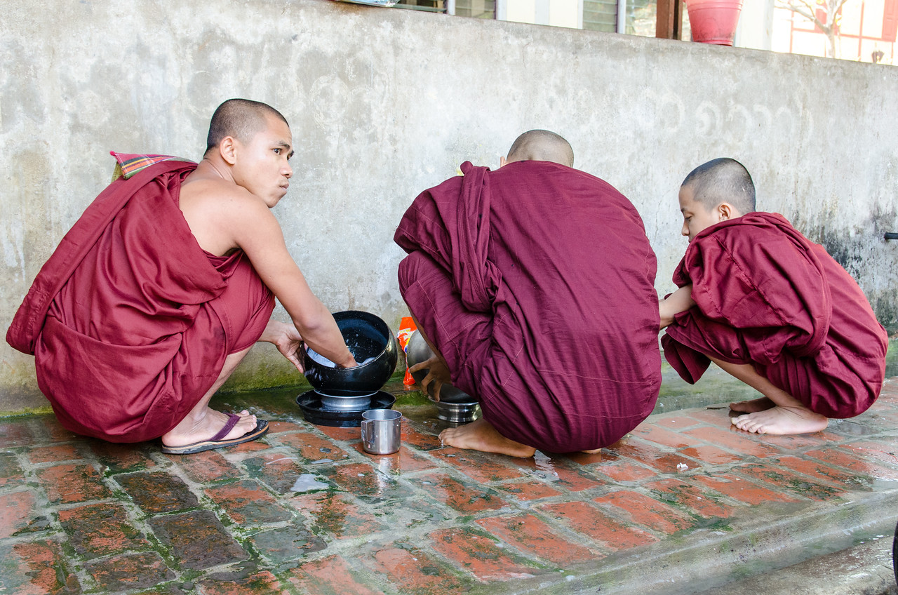 The monks clean their own bowls.