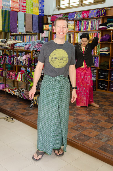 Tony wearing his new traditional Burmese longyi.