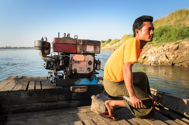 Boat driver on Myitnge River, Inwa, Myanmar.