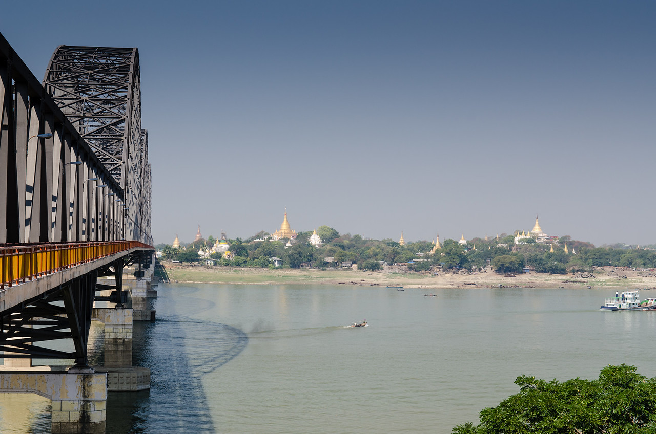 Looking west across the Irrawaddy towards Sagaing Hill, our destination.