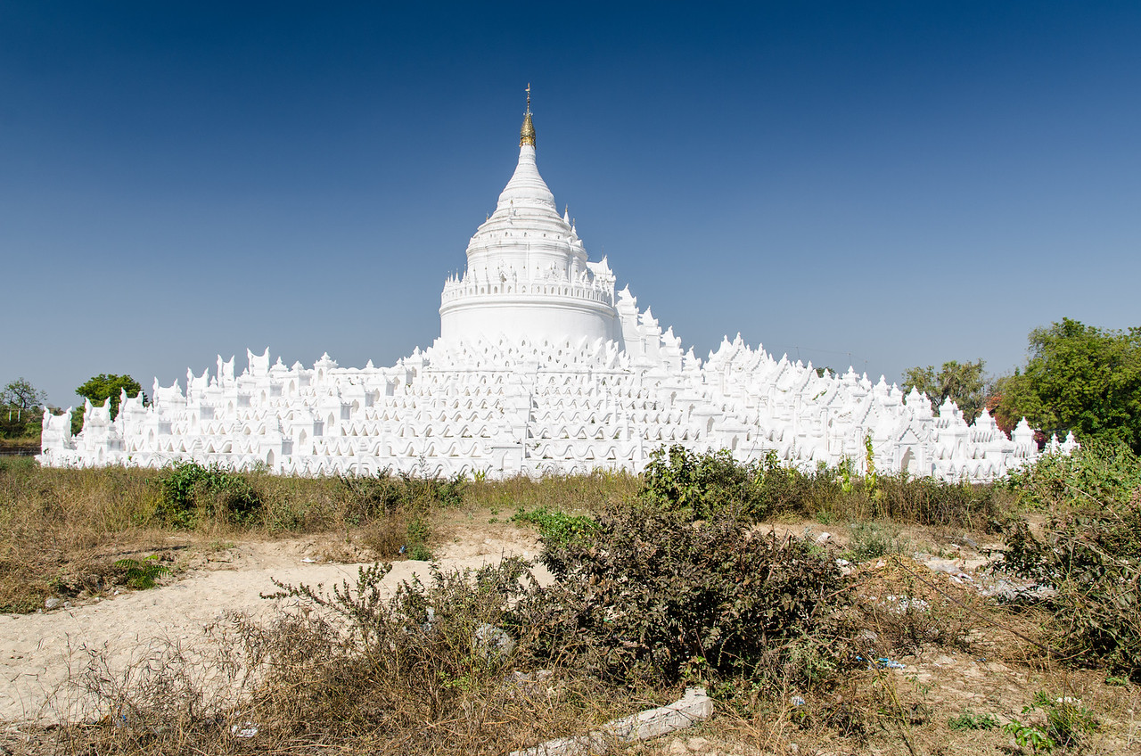 The white, circular Myatheindan Pagoda built in 1816.