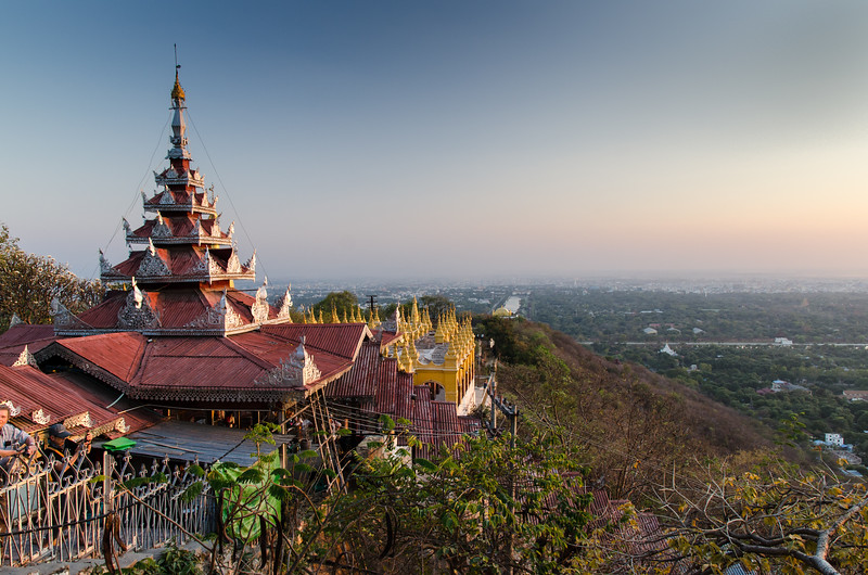 We made a mad dash from Inwa to the top of Mandalay HIll to take in the sunset.