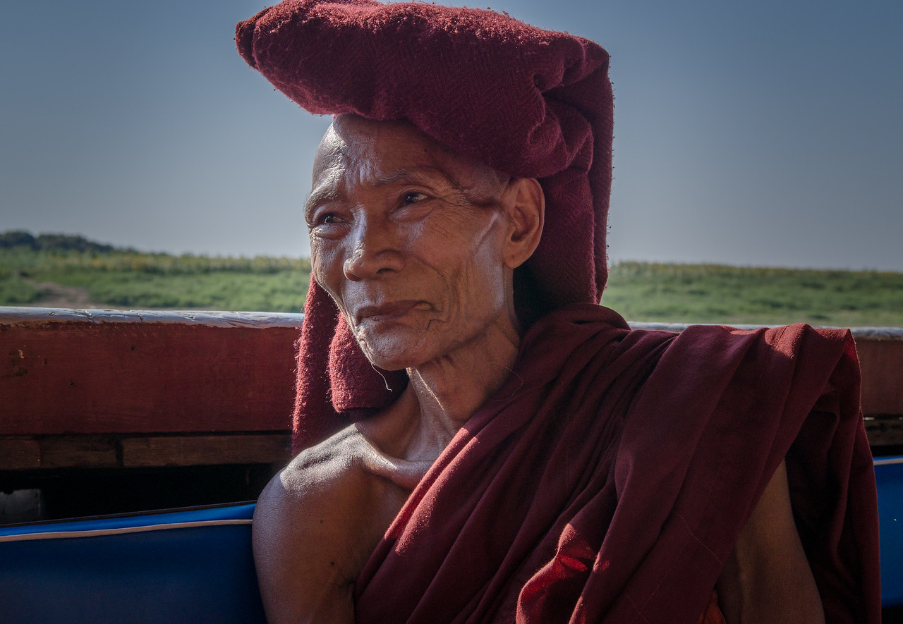 This elderly monk was on our boat crossing the Myitnge River to Inwa.  He said it was ok to take his photo.