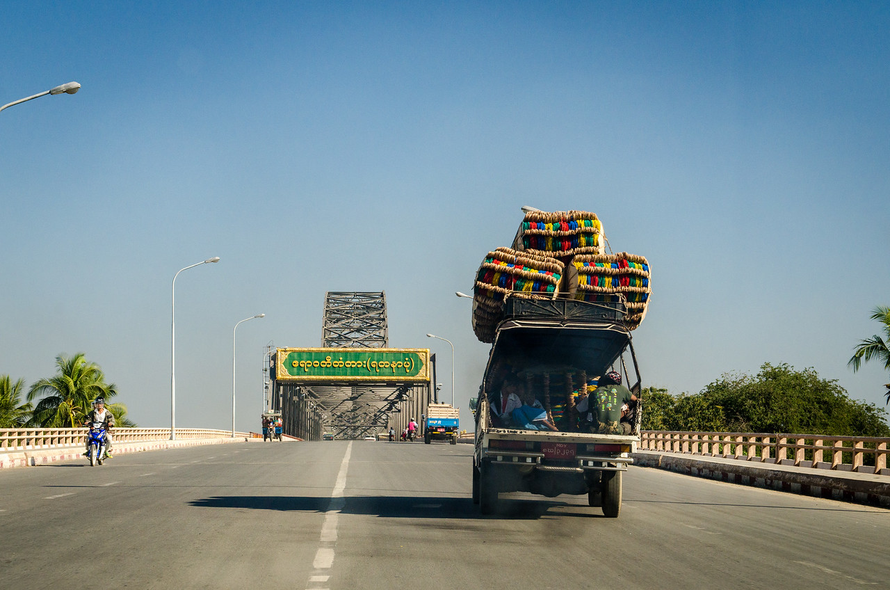 We are headed back to the east side of the Yadanabon Bridge to see more sights.
