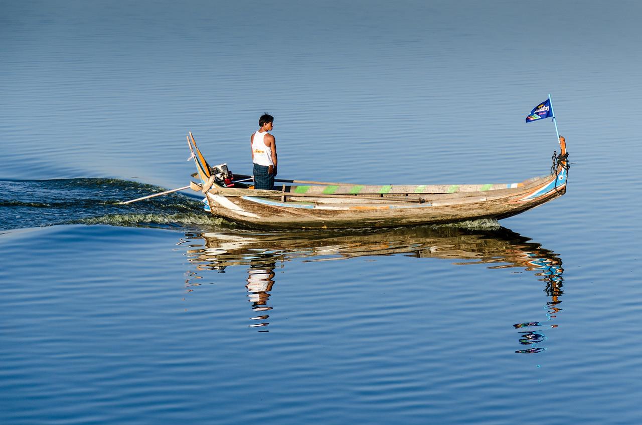 Boat on Taung Tha Man Lake.