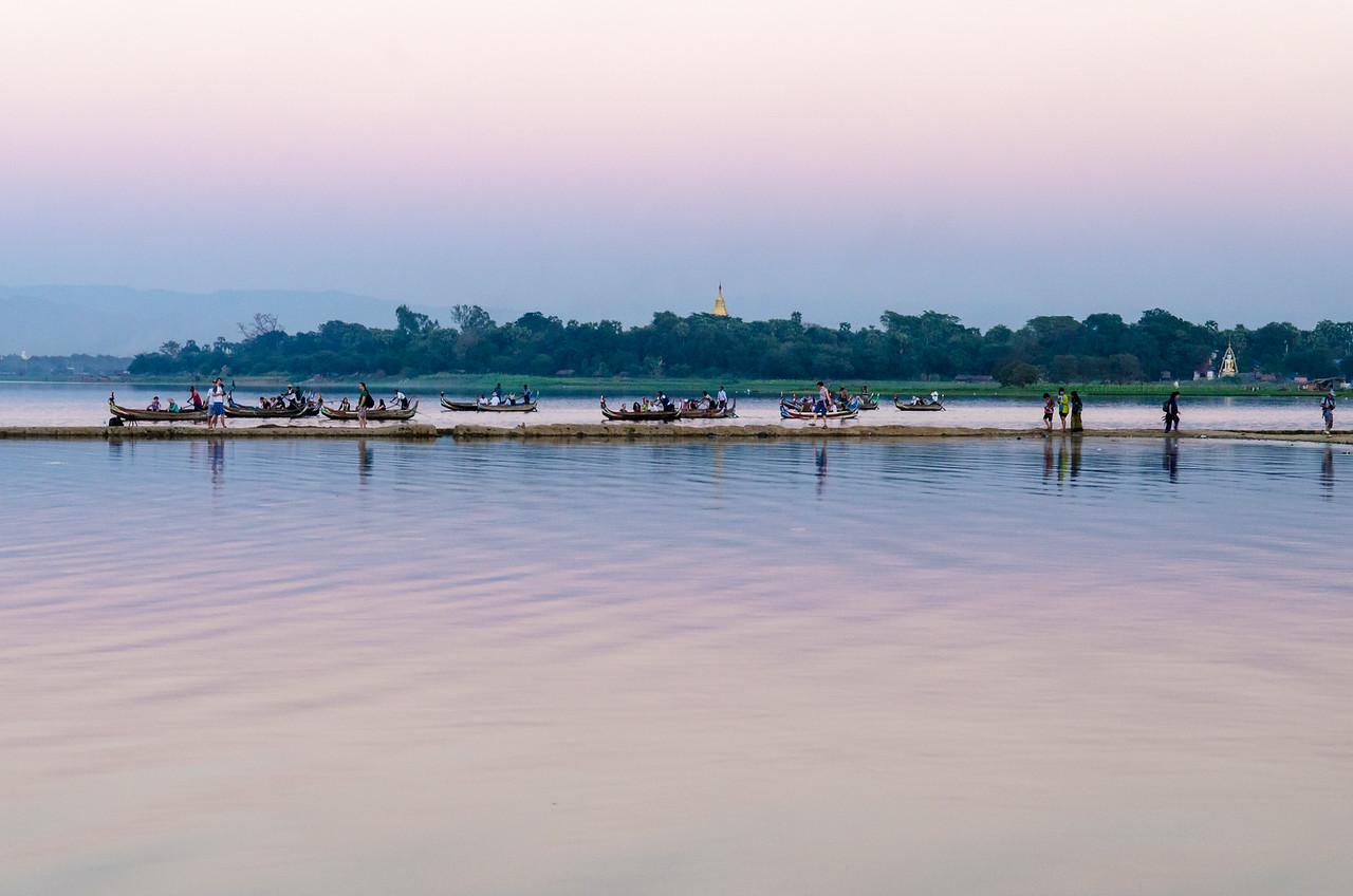 Twilight on Taung Tha Man Lake near U Bein Bridge.
