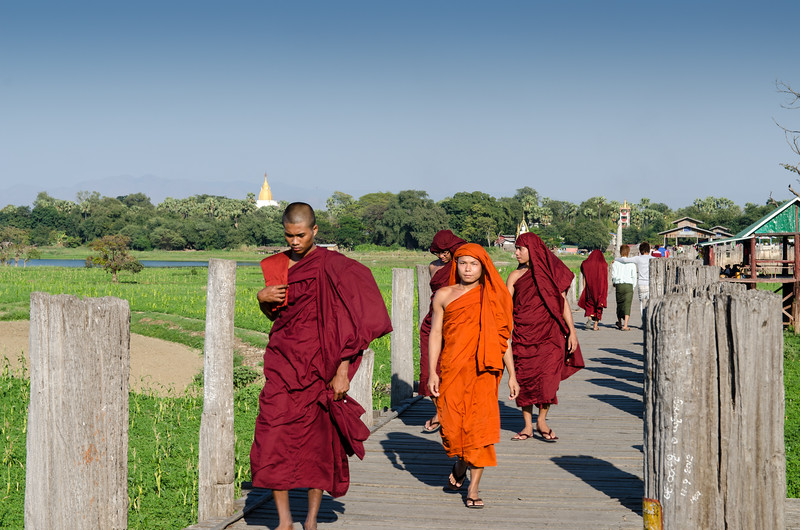 Monks crossing U Bein Bridge, they are proabably headed for the monastery in Amarapura.
