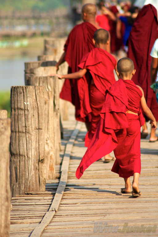 Young monks crossing the U Bein Bridge