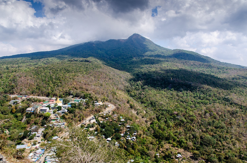 The view of Mount Popa from the shrine.