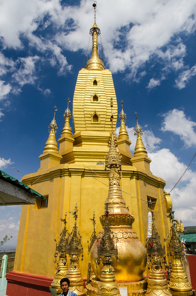 The golden stupa at the top of the Mount Popa shrine.