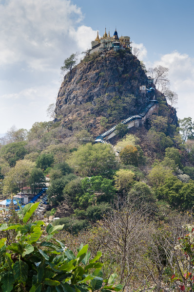 Our first glimpse of Mt Popa.