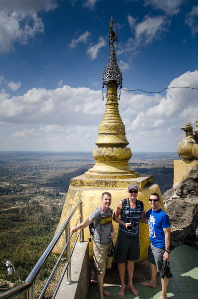 The gang at the top of the Mount Popa shrine.