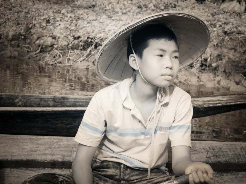 Boy in Boat, Inle Lake, Myanmar